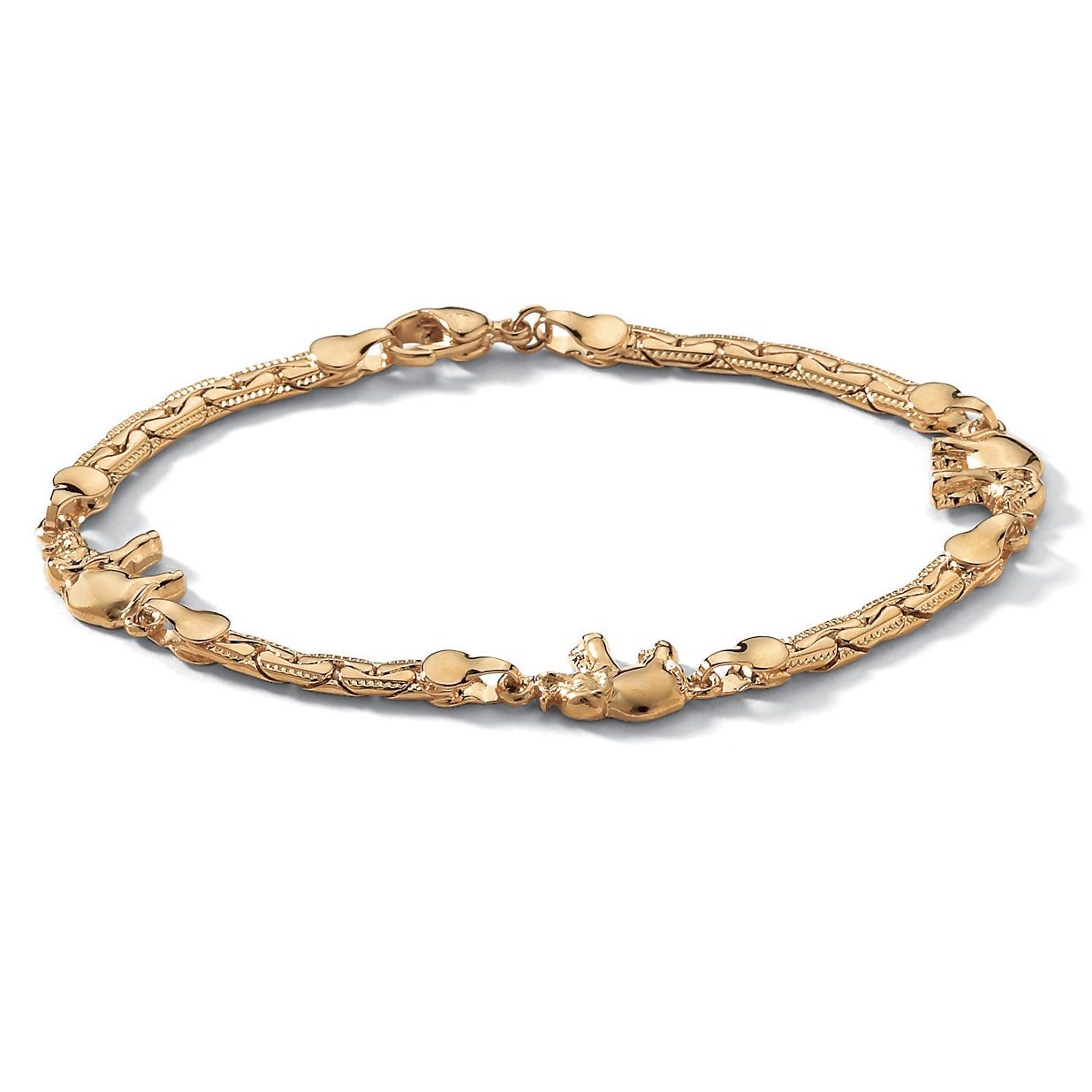 Palm Beach Elephant Ankle Bracelet in Yellow Gold Tone 10...