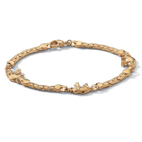 """Elephant Ankle Bracelet in Yellow Gold Tone 10"""" Tailored"""