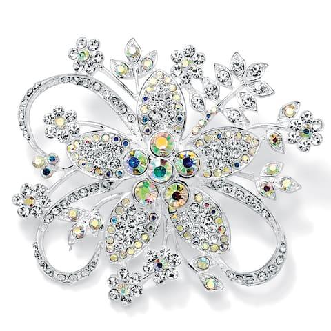Round Aurora Borealis Crystal Silvertone Bouquet Pin Color Fun