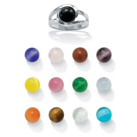 Sterling Silver Genuine Black Agate and Round Simulated Cat's Eyes 14-Piece Set Interchangeable Ring