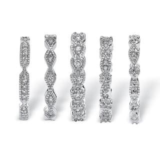 5 Piece 1.55 TCW Round Cubic Zirconia Stack Eternity Bands Set in Silvertone Classic CZ (Option: 9)|https://ak1.ostkcdn.com/images/products/6157556/P13814986.jpg?impolicy=medium