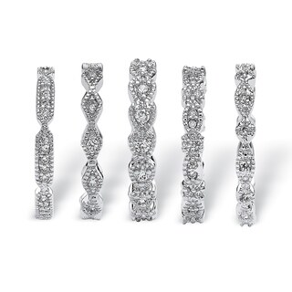 Silver Tone Cubic Zirconia 5 Piece Set Eternity Ring (5 options available)