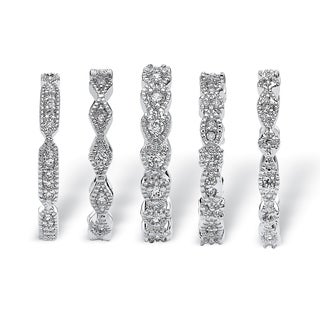 5 Piece 1.55 TCW Round Cubic Zirconia Stack Eternity Bands Set in Silvertone Classic CZ