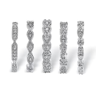 5 piece 155 tcw round cubic zirconia stack eternity bands set in silvertone classic cz - Overstock Wedding Rings