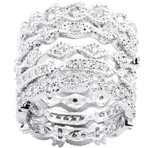 PalmBeach 5 Piece Round Cubic Zirconia Stack Eternity Bands Set in Silvertone Classic CZ