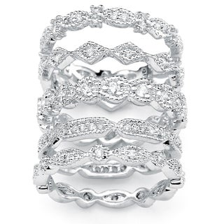 5 Piece 1.55 TCW Round Cubic Zirconia Stack Eternity Bands Set in Silvertone Classic CZ (2 options available)