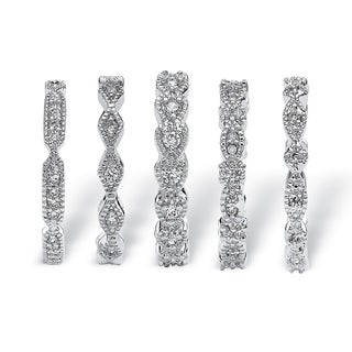 Link to Silver Tone Cubic Zirconia 5 Piece Set Eternity Ring Similar Items in Rings