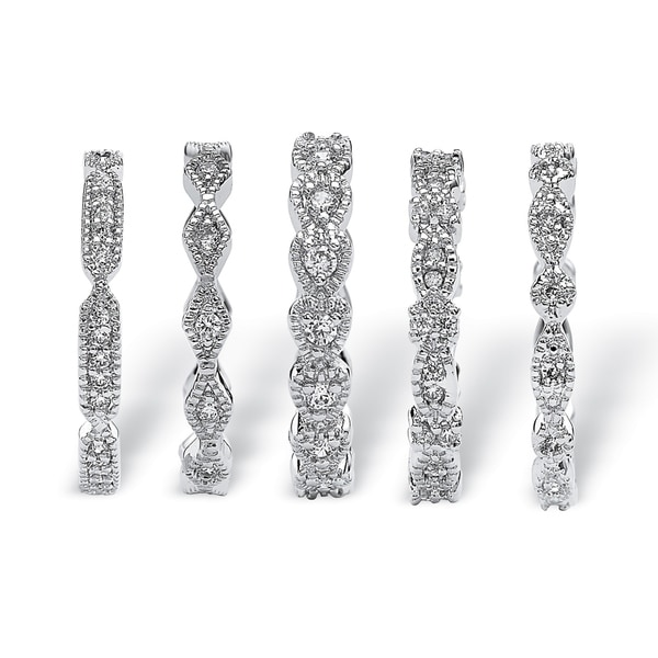 Silver Tone Cubic Zirconia 5 Piece Set Eternity Ring. Opens flyout.