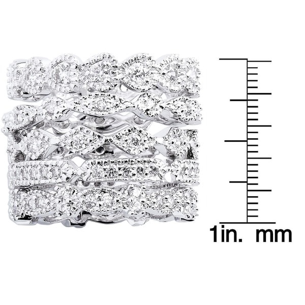 Silver Tone Cubic Zirconia 5 Piece Set Eternity Ring