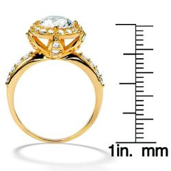 Ultimate CZ Gold over Silver White Cubic Zirconia Ring - Thumbnail 2