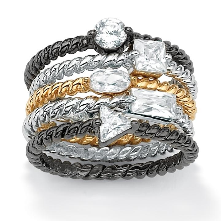 Isabella Collection Tri-Tone Cubic Zirconia Braided Stackable Rings (Set of 5) - Thumbnail 0