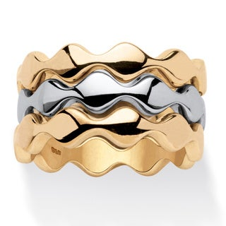 14k Gold-Plated and Rhodium-Plated Set of Three Stackable Zigzag Rings Tailored
