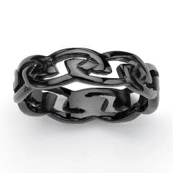 PalmBeach Men's Black ION-Plated Stainless Steel Barbed Wire-Style Wedding Band Sizes 6-15