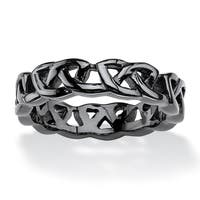 Men's Black ION-Plated Stainless Steel Barbed Wire-Style Wedding Band Sizes 6-15