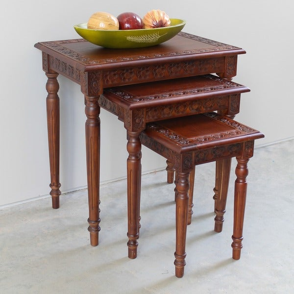 International Caravan Windsor Carved Wood Nesting Tables (Set of 3)