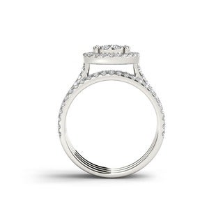 De Couer 10k Gold 1ct TDW Diamond Halo Bridal Ring Set