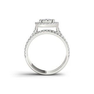 De Couer IGI Certified 10k Gold 1ct TDW Diamond Halo Bridal Ring Set