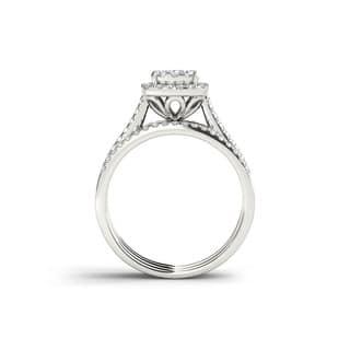 De Couer 10k Gold 1ct TDW Diamond Halo Bridal Ring Set|https://ak1.ostkcdn.com/images/products/6159110/P13816297.jpg?impolicy=medium