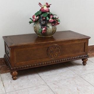 International Caravan Windsor Carved Wood Two-drawer Coffee Table