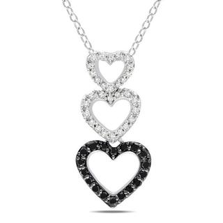 Miadora Sterling Silver 1/3ct TDW Black and White Diamond Necklace