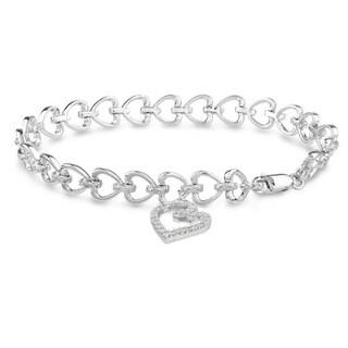 Miadora Sterling Silver 1/2ct TDW Diamond Heart Charm Bracelet (H-I, I3)