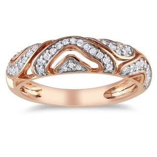Miadora 10k Pink Gold 1/5ct TDW Diamond Ring