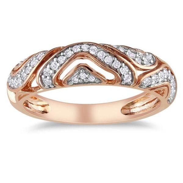 Miadora 10k Pink Gold 1/5ct TDW Diamond Ring