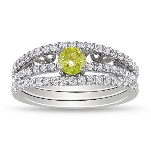 18k White Gold 7/8ct TDW Yellow and White Diamond Ring Set (G-H, SI1-SI2)