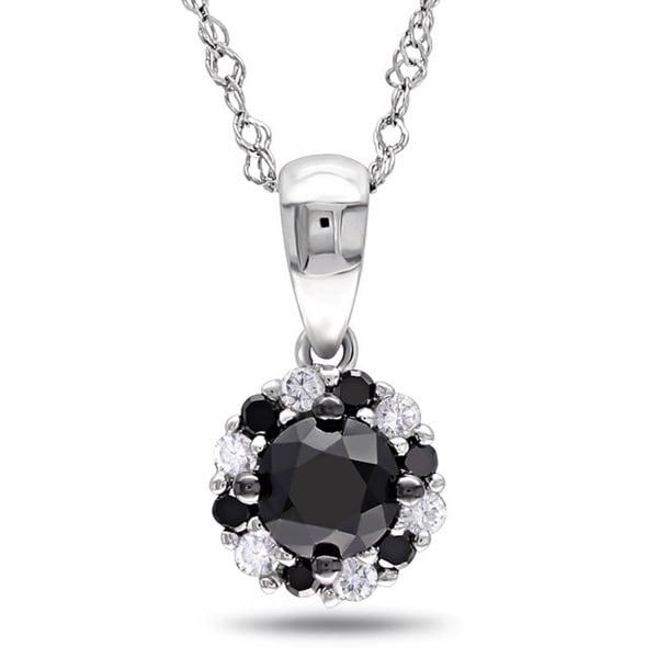 Miadora 10k White Gold 1/2ct TDW Black and White Diamond Halo Necklace
