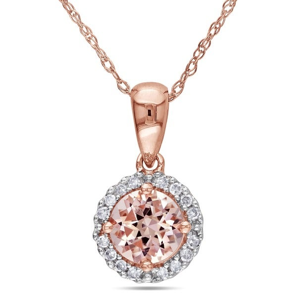 Miadora 10k Rose Gold Morganite and 1/10ct TDW Diamond Halo Necklace (G-H, I2-I3)