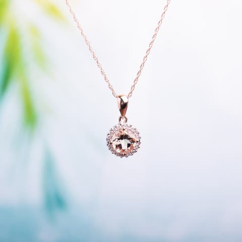 4/5ct TGW Morganite and 1/10ct TDW Diamond Halo Necklace in 10k Rose Gold by Miadora - 16.4 mm x 17 in x 8.9 mm