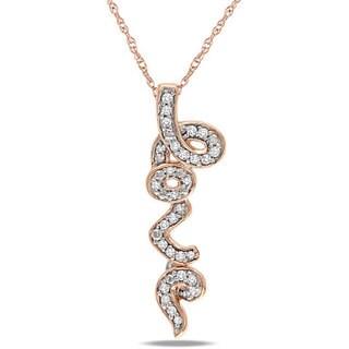 Miadora 10k Pink Gold 1/6ct TDW Diamond 'Love' Necklace
