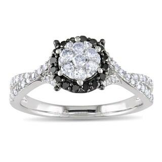 14k White Gold 1/2ct TDW Black and White Diamond Ring