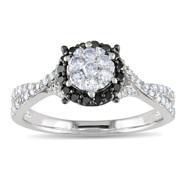 14k White Gold 1/2ct TDW Black and White Diamond Ring (G-H, I1-I2)