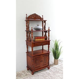 Clearance International Caravan Windsor Carved Wood One Drawer 4 Tier Bookshelf