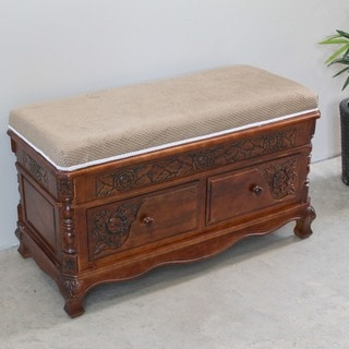 International Caravan Carved Wood Two-drawer Storage Bench with Cushioned Top