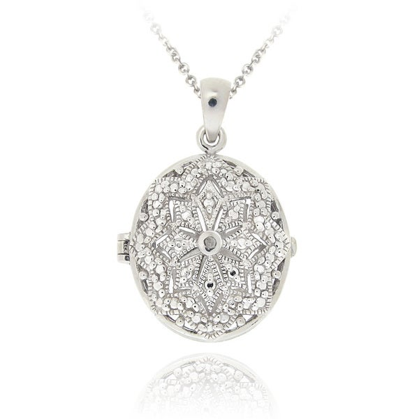 DB Designs Sterling Silver Diamond Accent Filigree Oval Locket Necklace