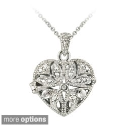 DB Designs Sterling Silver Diamond Accent Filigree Heart Locket Necklace