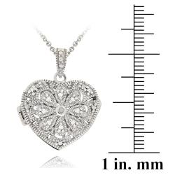 DB Designs Sterling Silver Diamond Accent Flower Heart Locket Necklace - Thumbnail 2