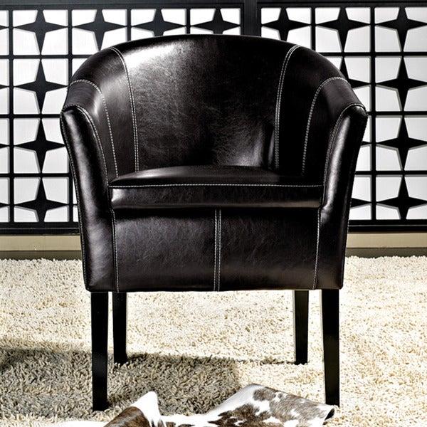 Abbyson Living Trianna Black Bonded Leather Club Chair