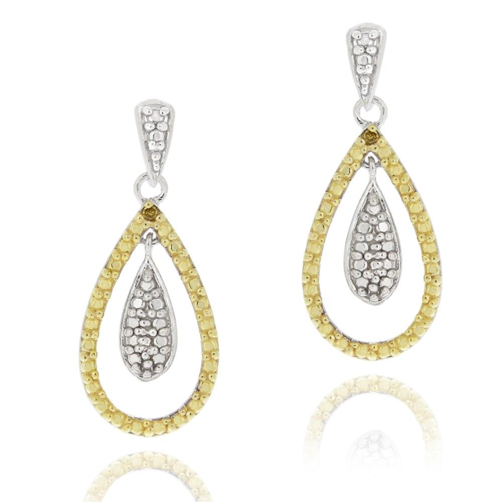 DB Designs Two-tone Sterling Silver Yellow Diamond Accent Teardrop Earrings