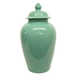 Teal Blue Round Porcelain Temple Jar