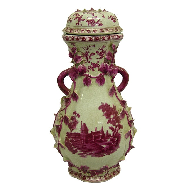 Pink Pagoda Porcelain Relief Cover Jar