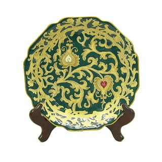Evergreen Scallop Porcelain Plate with Stand|https://ak1.ostkcdn.com/images/products/6159304/P13816443.jpg?impolicy=medium