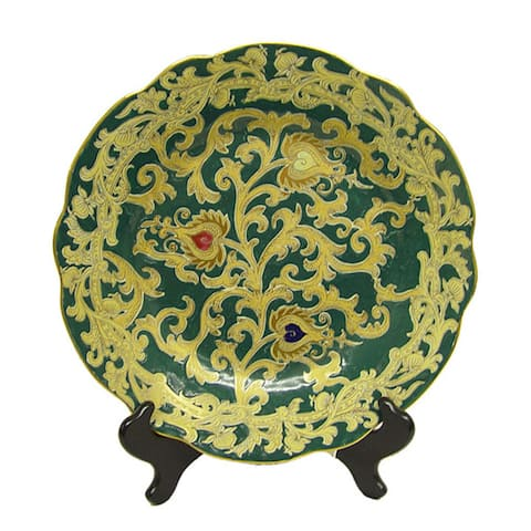 Royal Evergreen Scallop Porcelain Plate with Stand