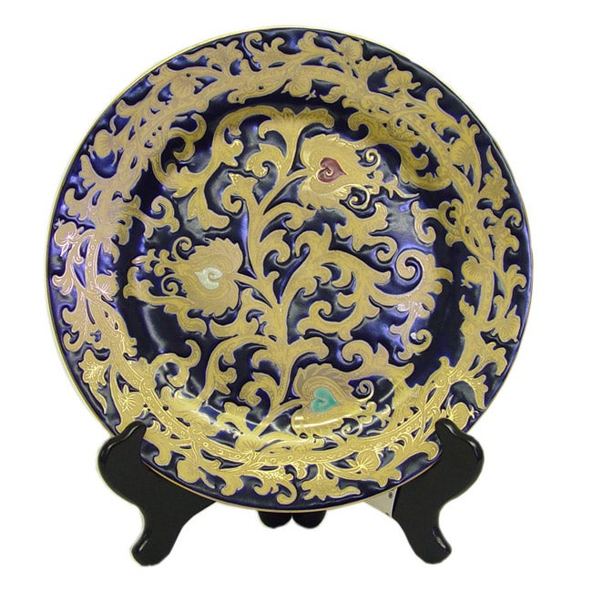 Royal Blue and Gold Porcelain Plate with Stand