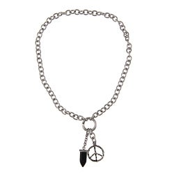 Stainless Steel Men S Peace Sign And Black Onyx Fang Charm Necklace