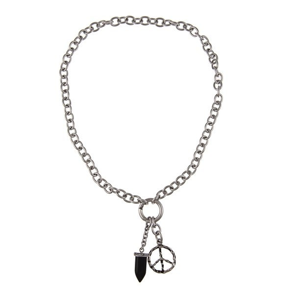 Stainless Steel Men's Peace Sign and Black Onyx Fang Charm Necklace