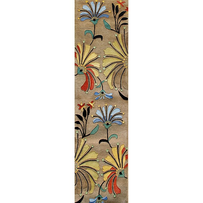 Alliyah Rugs Handmade Tufted Beige New Zealand Blend Wool Runner Rug (2' x 8')