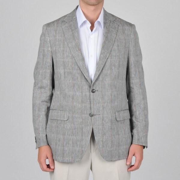 U&I Men's Windowpane Pattern Linen Blazer